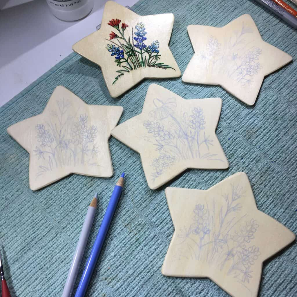 Image: Sketches on wood stars.