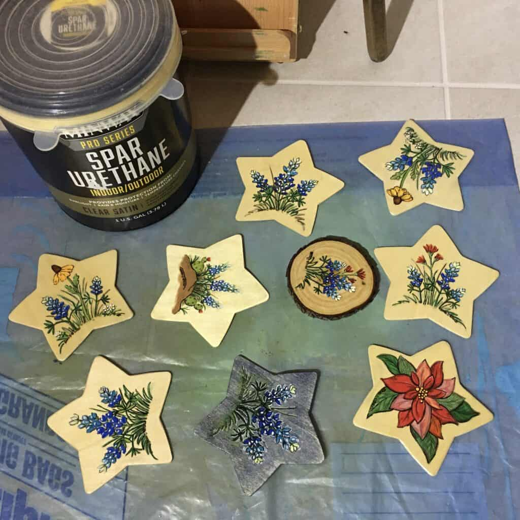 Image: painted stars with finished applied.