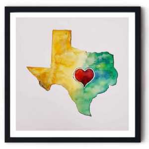 Image: watercolor of Texas with red heart, in black frame.