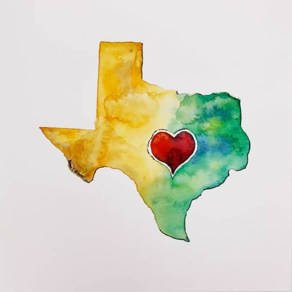 Image: watercolor in shape of Texas with red heart.